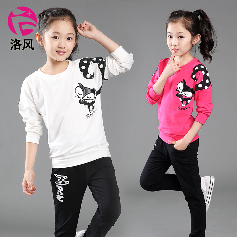 Kids girls spring 2016 new children's sports suit spring models spring and autumn female piece big boy spring clothes