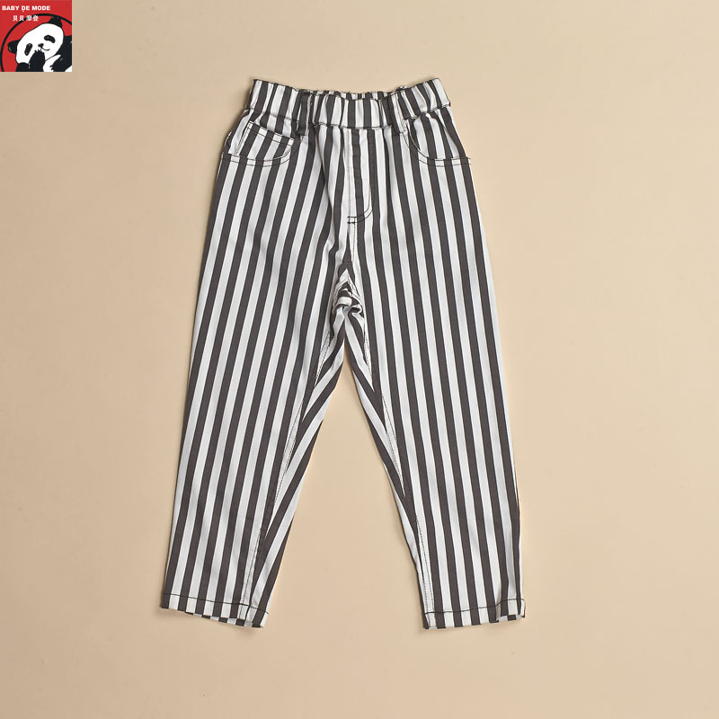 Kids spring and autumn spring and summer [babe modern authentic] children striped pants