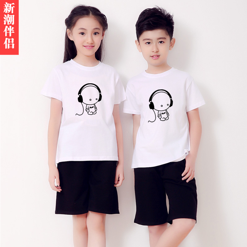 Kids summer children's suits for boys and girls short sleeve suit small headphones primary school uniforms park nursery garden clothes