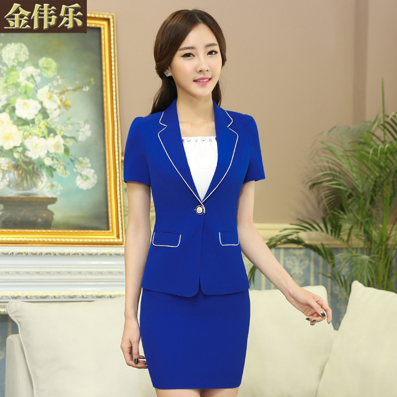 Kim wai lok female professional skirt suit 2015 summer collar big yards short sleeve dress slim ol beautician overalls