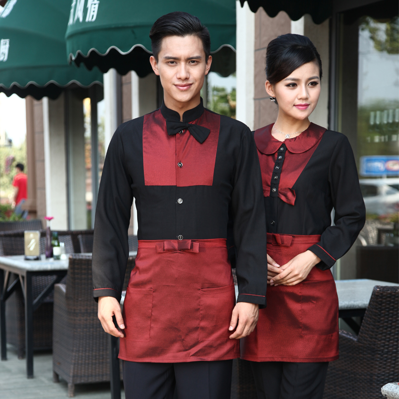 Kim wai lok hotel sleeved overalls fall and winter clothes hotel restaurant waiter overalls overalls fall and winter clothes