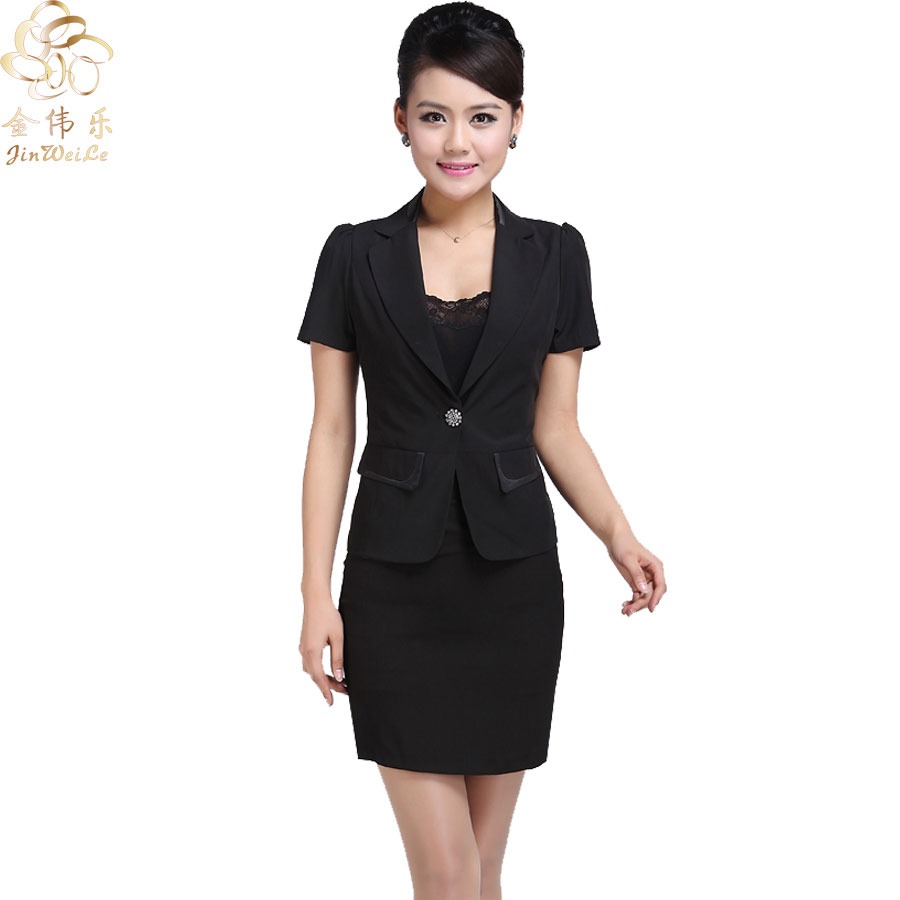 Kim wai lok hotel uniforms summer stewardess uniforms clothing short sleeve skirt suit uniforms foreman front desk set summer