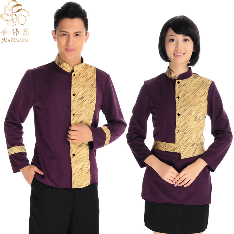 Kim wai lok hotel waiter sleeved overalls hotel uniforms fall and winter clothes overalls hotel