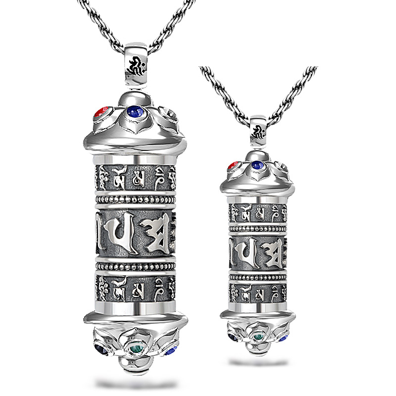 King and mantra amulet pendant necklace 925 sterling silver pendants silver pendant silver jewelry retro items