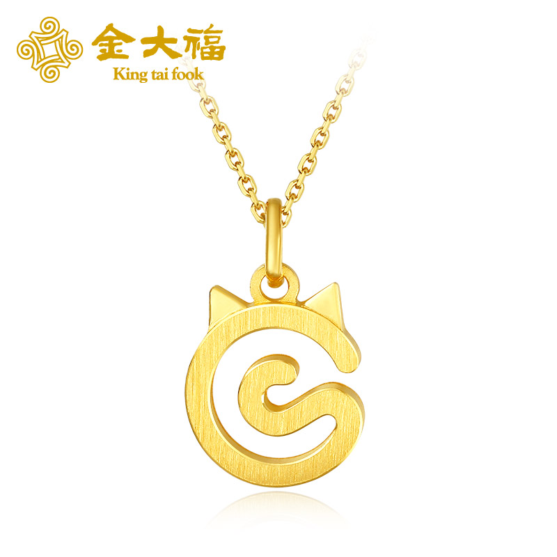 King tai fook/gold tai fook jewelry gold pendant gold necklace gold necklace female models cute cat