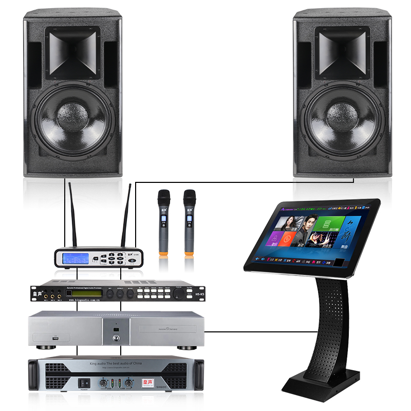 Kingaudio/huang sound one with two stereo speakers h12 + vod + microphone professional ktv bar speaker set
