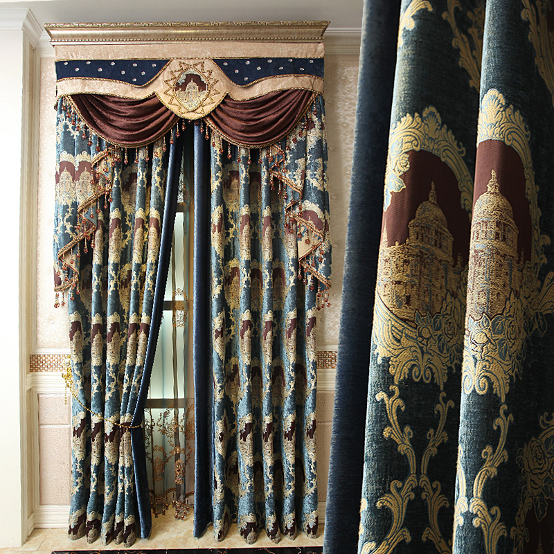 Get Quotations EZeo 3 4 Kiss Dark Fabric European Jacquard Chenille Curtains Living Room Custom Embroidered