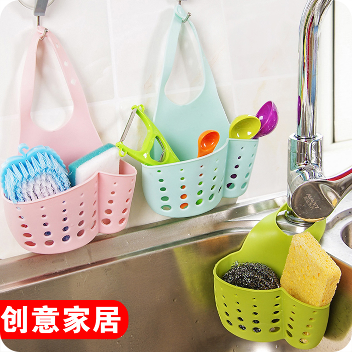 Kitchen faucet can be hanging snap sink storage basket drain basket hanging basket kitchen shelving rack drain and sponge holder