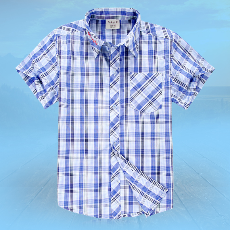 Knight baylor boys short sleeve cotton shirt children plaid shirt male child big boy short sleeve shirt summer tide models