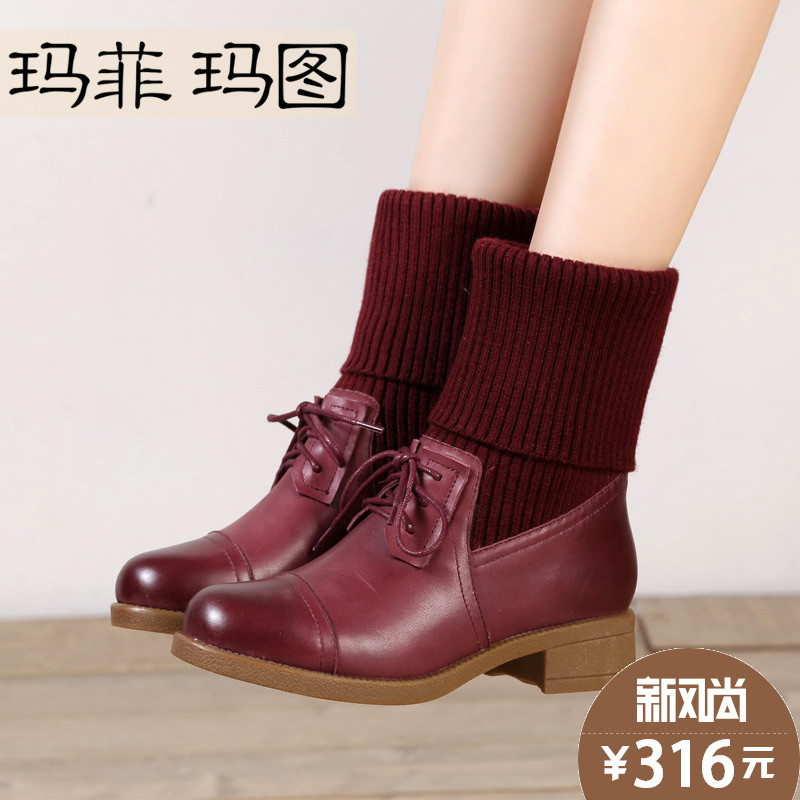 Knitting wool spell leather autumn and winter influx of female boots with round martin boots female british style boots thick with female