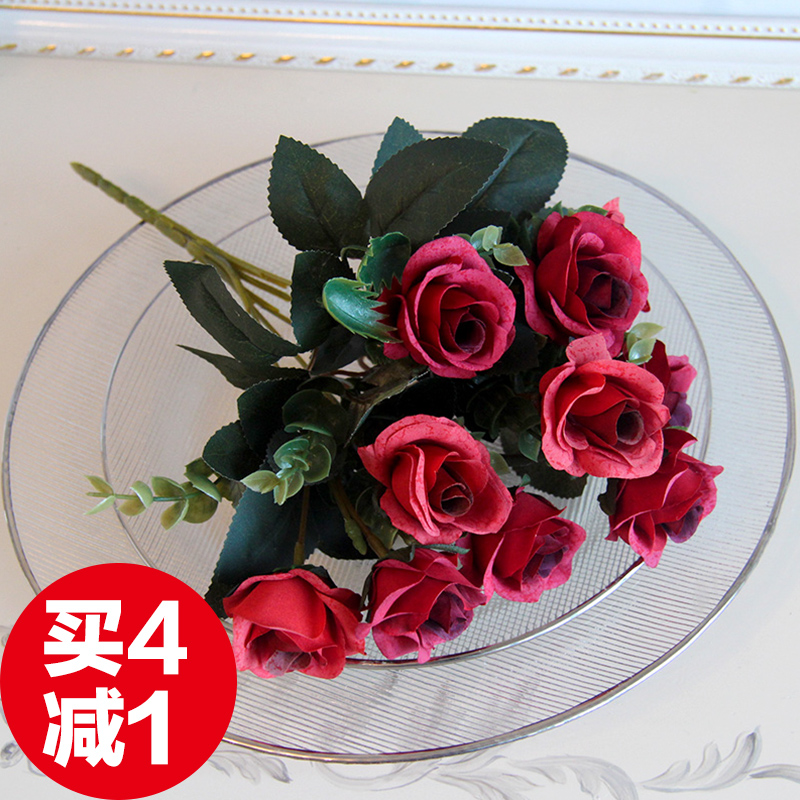 Know the root simulation flower rose high simulation silk flower floral home decor living room table artificial flowers