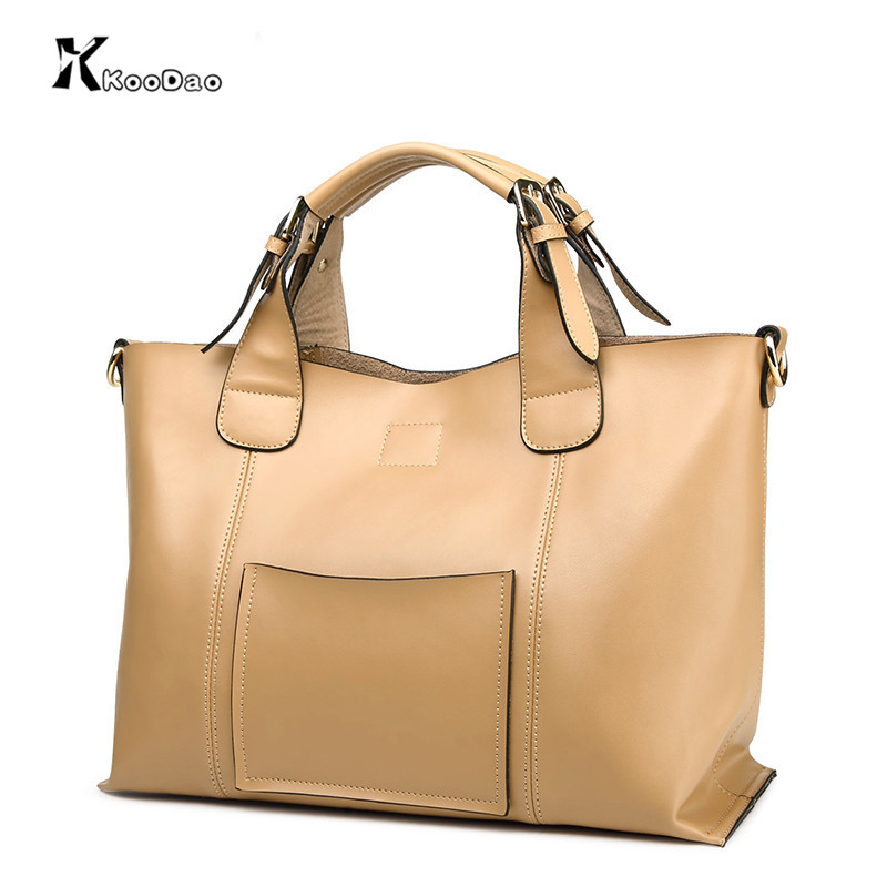 Koodao 2016 spring new handbag shoulder bag big bag leisure wild simple solid color ladies handbag large capacity