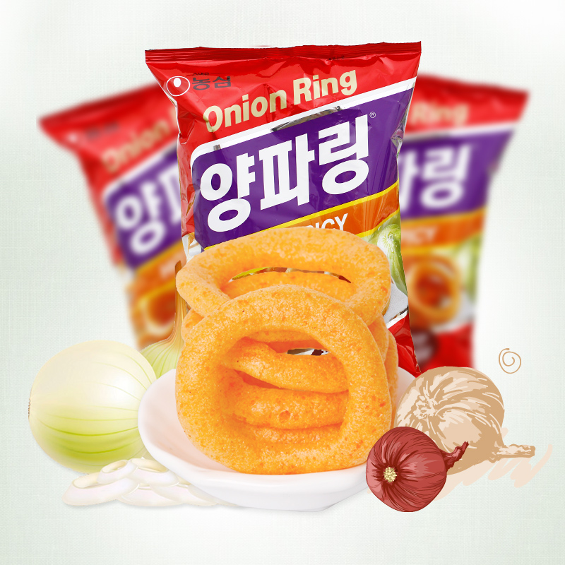 Korea agro heart spicy onion rings g imported puffed snack chips imported korean food