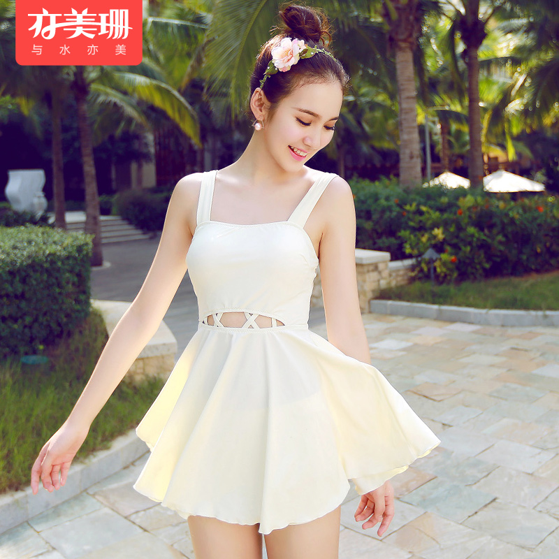 Korea also meishan female swimsuit small chest gather conservative swimsuit cover the belly piece swimsuit skirt style boxer was thin piece swimsuit