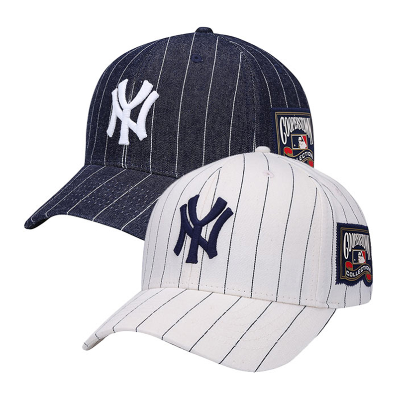 0f903232 Get Quotations · Korea-authentic mlb yankees baseball cap ny hat striped  denim cap adjustable visor cap hat