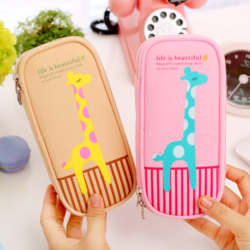 Korea creative cute deer canvas large capacity pencil simple pencil case multifunction stationery pencil bag boys and girls