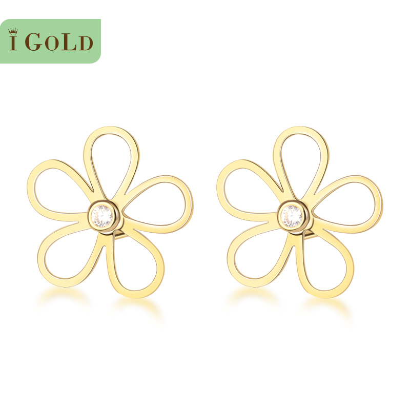 Korea genuine counter igold pure k gold flowers simple fashion wild earrings earrings female gifts