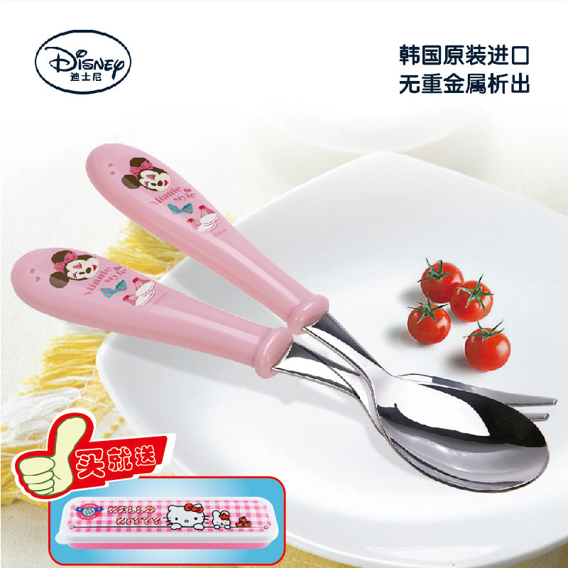 Korea imported authentic disney disney baby infant child cutlery stainless steel fork spoon piece fitted