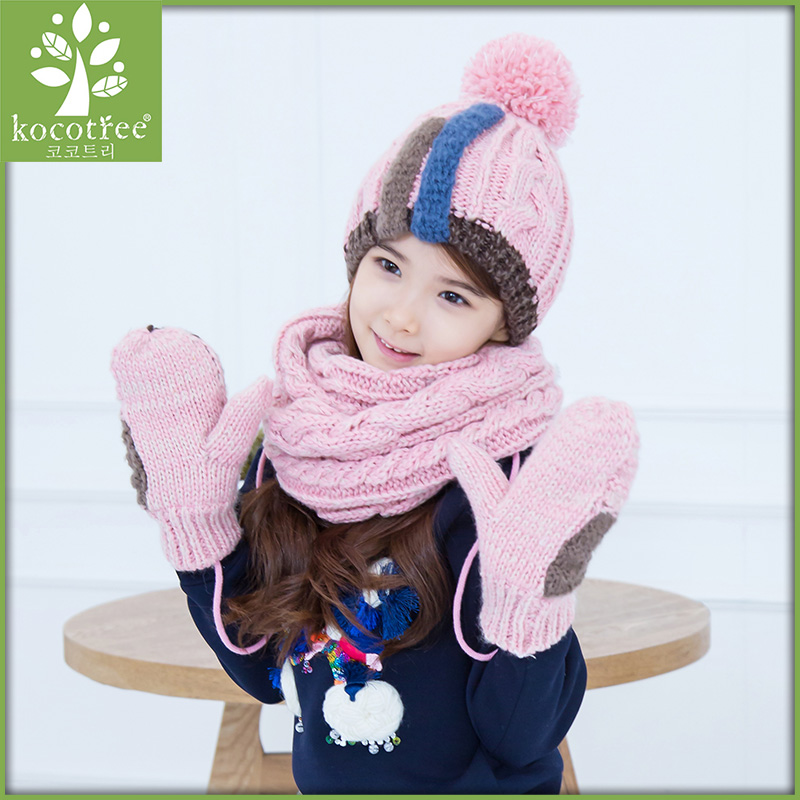 Korea kk tree baby hats scarves gloves three sets of hand sets of children fall and winter hat scarf suit fashion tide
