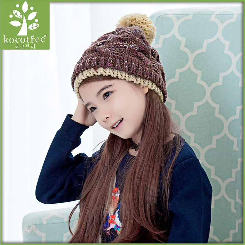 Korea kk tree child hat baby hats for men and women in autumn and winter warm spell color comfortable cute pompon hat cap tide
