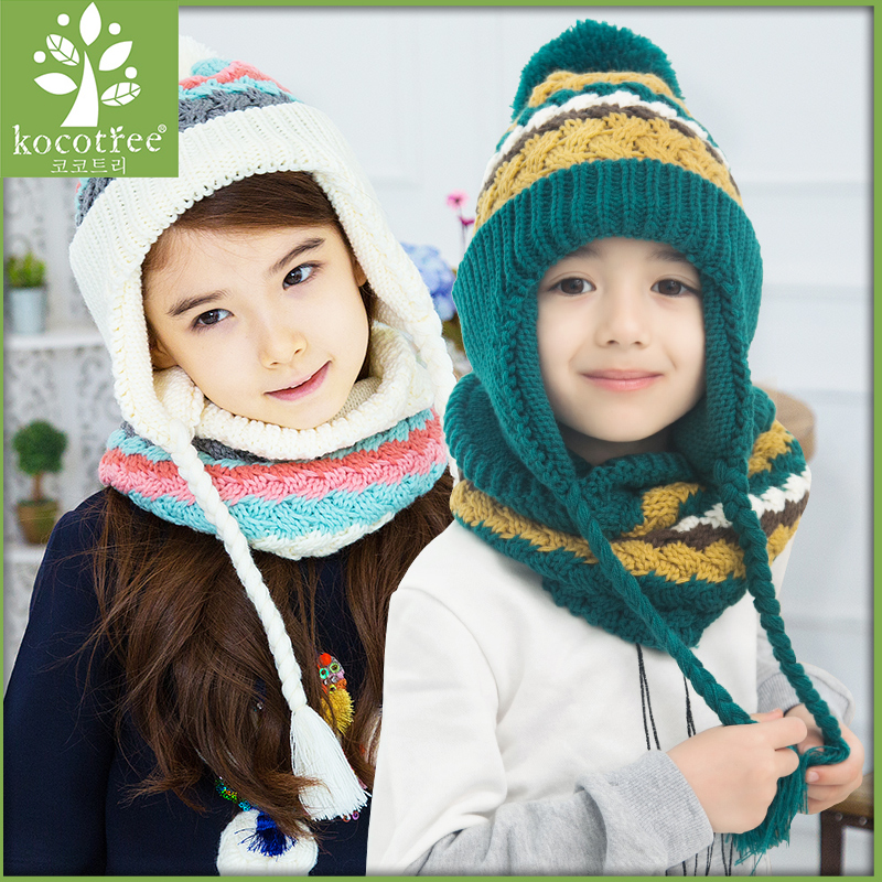 Korea kk tree fall and winter children hat scarf piece baby child models warm and comfortable hat set
