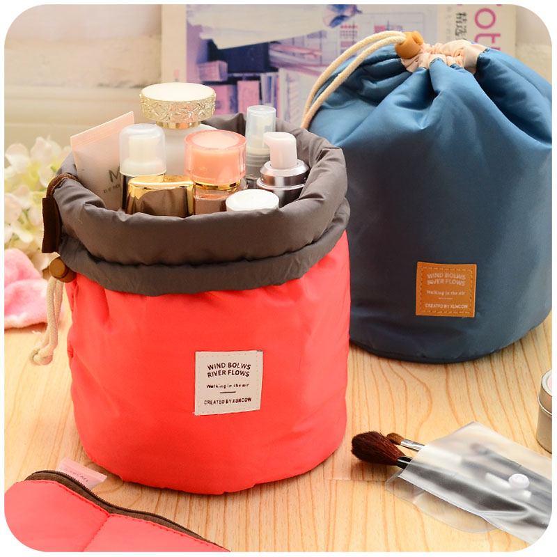 Korea lovely large capacity portable trumpet portable waterproof cosmetic bag wash bag storage bag travel cosmetic case