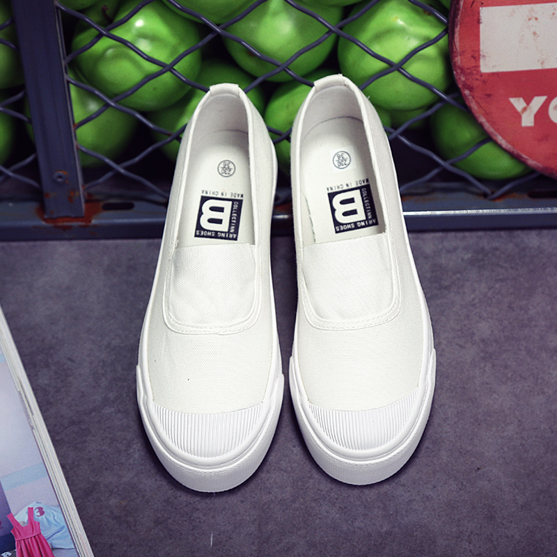 Korea ulzzang classic solid color shallow mouth to help low a pedal sets foot lazy shoes cloth shoes shoes white shoes