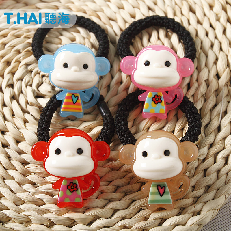 Korean candy colored cute little monkey little girl children hair tie rubber band tousheng hair ring hair rope head ornaments