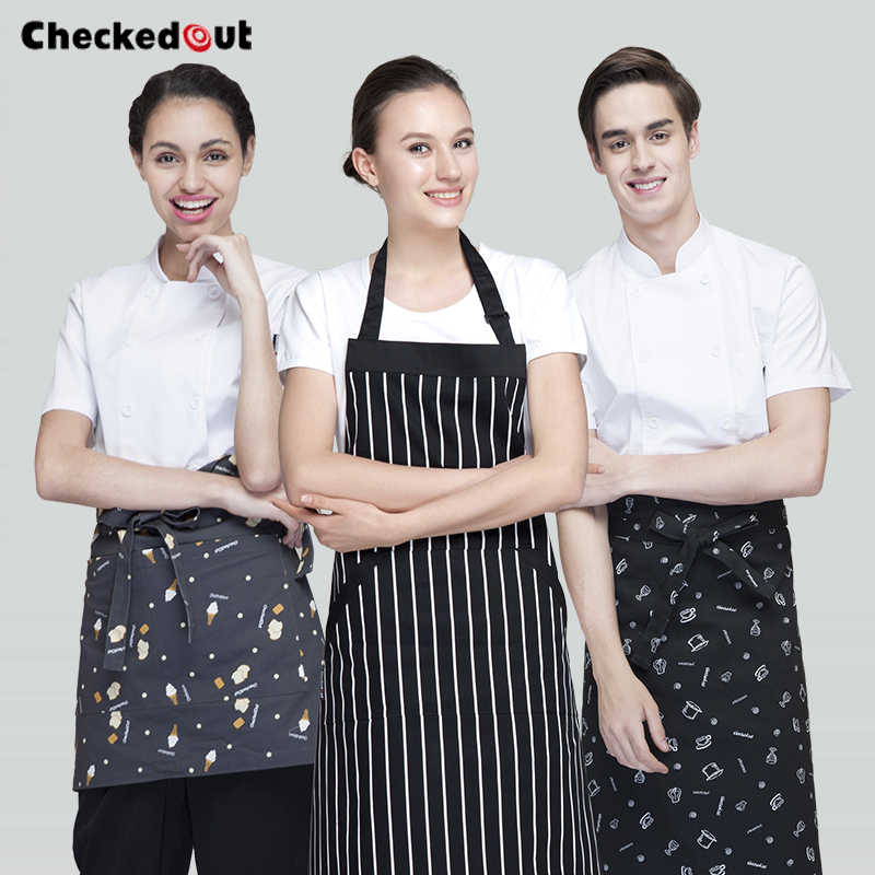 Korean cotton apron home kitchen bakery chef service staff work apron bust short paragraph halter wai