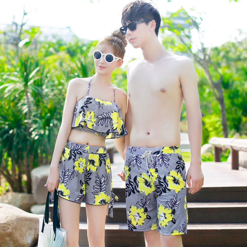 595239b35ab75 Get Quotations · Korean couple female swimsuit triangle bikini skirt steel  prop gather small chest girl students pretty pedicle