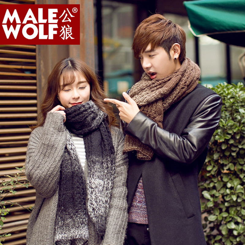 e90f4979090 Get Quotations · Korean couple winter graded coarse wool scarf male korean  winter long section of thick knit scarf