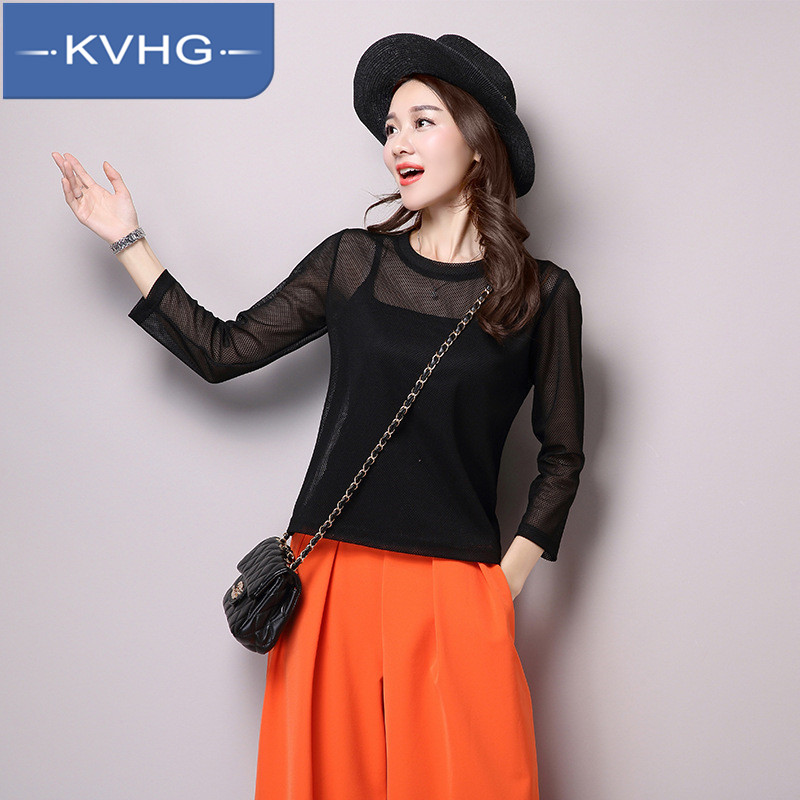 Korean fashion small fresh kvhg ladieswear 2016 summer fashion loose and comfortable ladies long sleeve t-shirt 4130