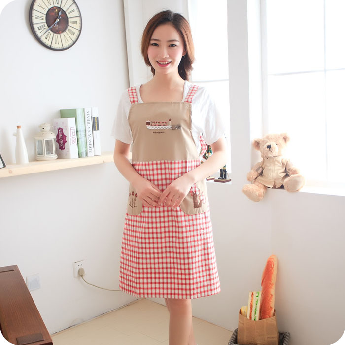 Korean female models embroidery sleeveless strap style home kitchen aprons cute fashion oilproof antifouling work apron