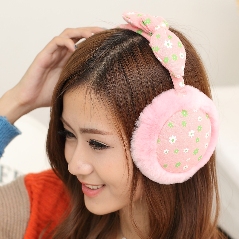 Korean female winter earmuffs earmuffs cute cartoon bow imitation rabbit fur earmuffs ear cover their ears warm ear package warm floral