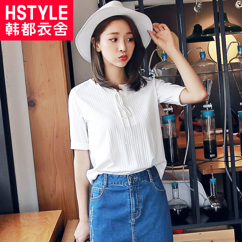 Korean homes have clothes korean version of the influx of t-shirt 2016 hitz influx of women round neck fifth sleeve short sleeve solid color t College
