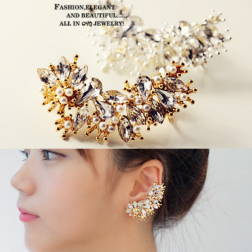 Korean jewelry pearl crystal personality wide ear clip ear bones clip earrings non pierced ear clip earrings ear ornaments 0053