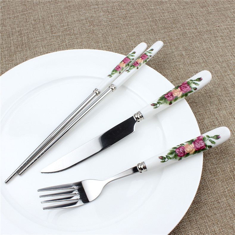 Korean porcelain handle western knife and fork cutlery chopsticks scald serrated knife western knife and fork spoon handle steak knife and fork cutlery