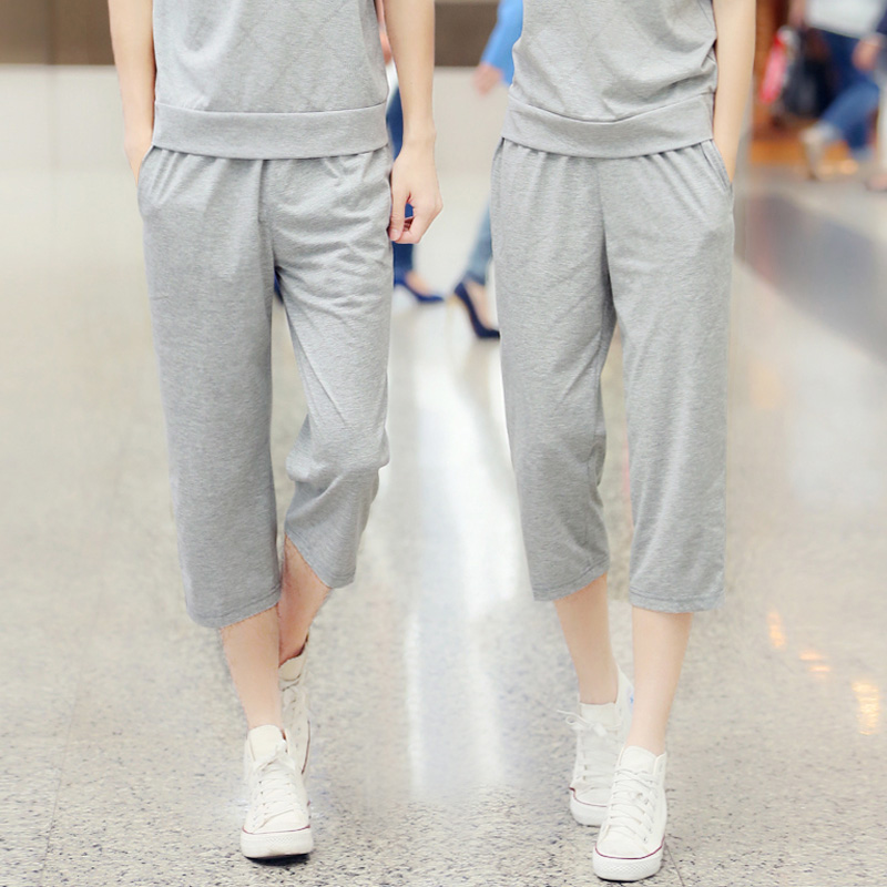 Korean version of casual pant new summer men and women couple models sports pants elastic pants straight pants free shipping