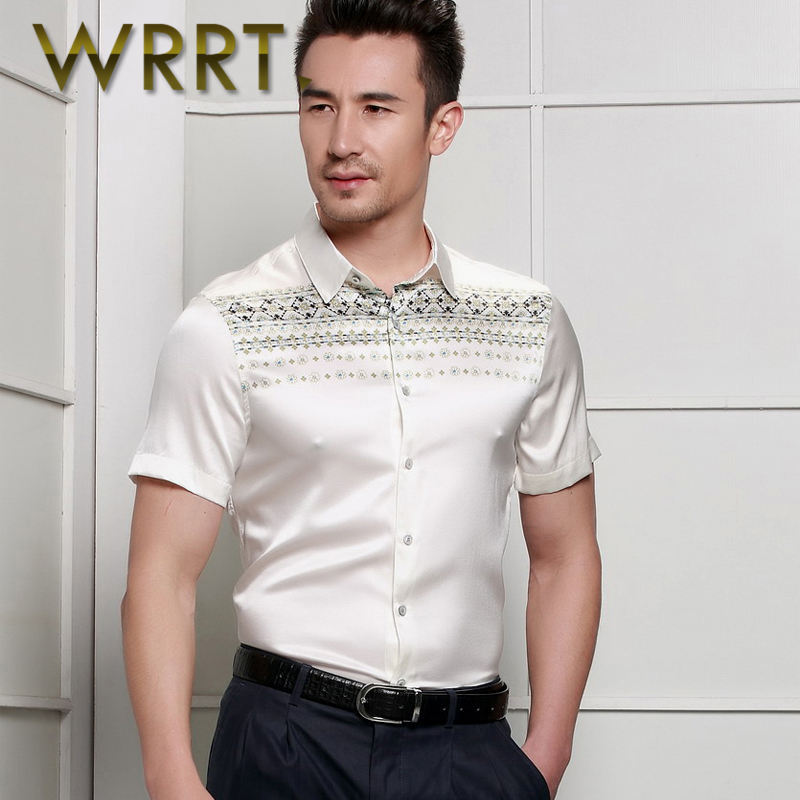 Korean version of casual wrrt silk business casual fashion simple and comfortable men's shirts 2016 approximately 4378