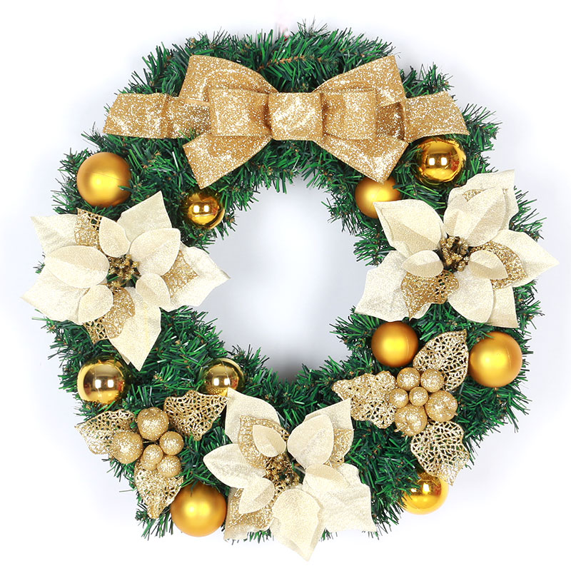 Korean version of glory christmas wreath 40/50/60cm golden bow christmas decorations christmas ornaments door trim