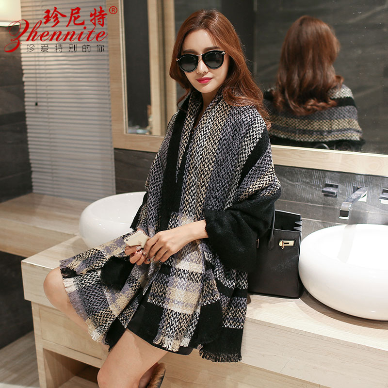 Korean version of plaid wool knit scarf female winter long section of thick scarf shawl dual autumn and winter scarf korea