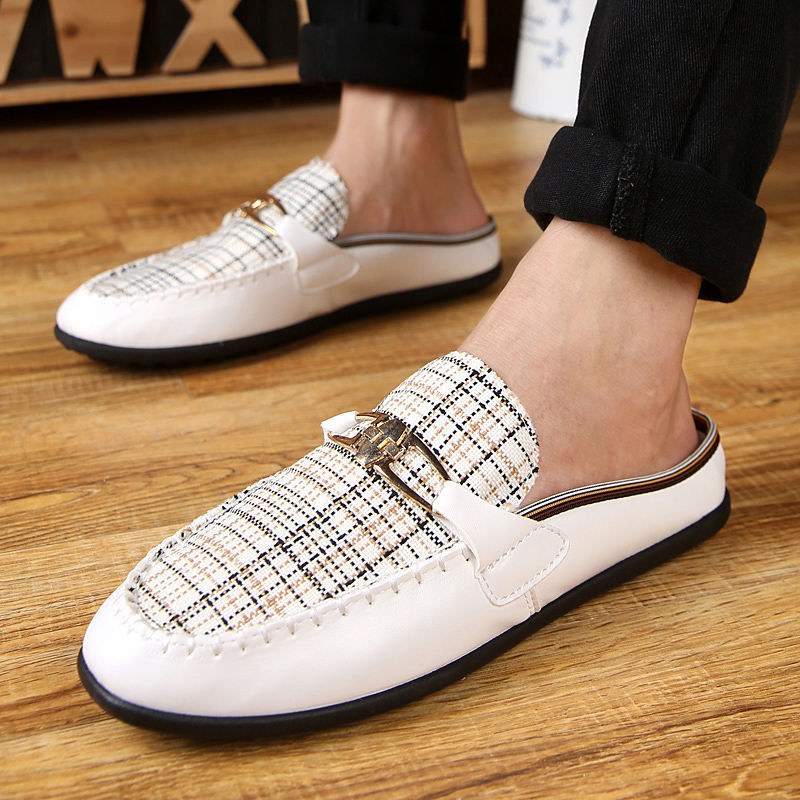 Get Quotations · Korean version of spring and summer half slippers casual shoes  men pointed shoes tide peas shoes
