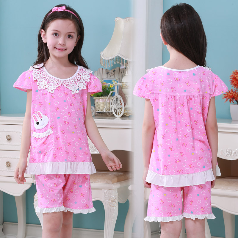 Get Quotations · Korean version of spring children s pajamas long sleeve  cotton tracksuit girls girls spring and autumn small 71323fe90
