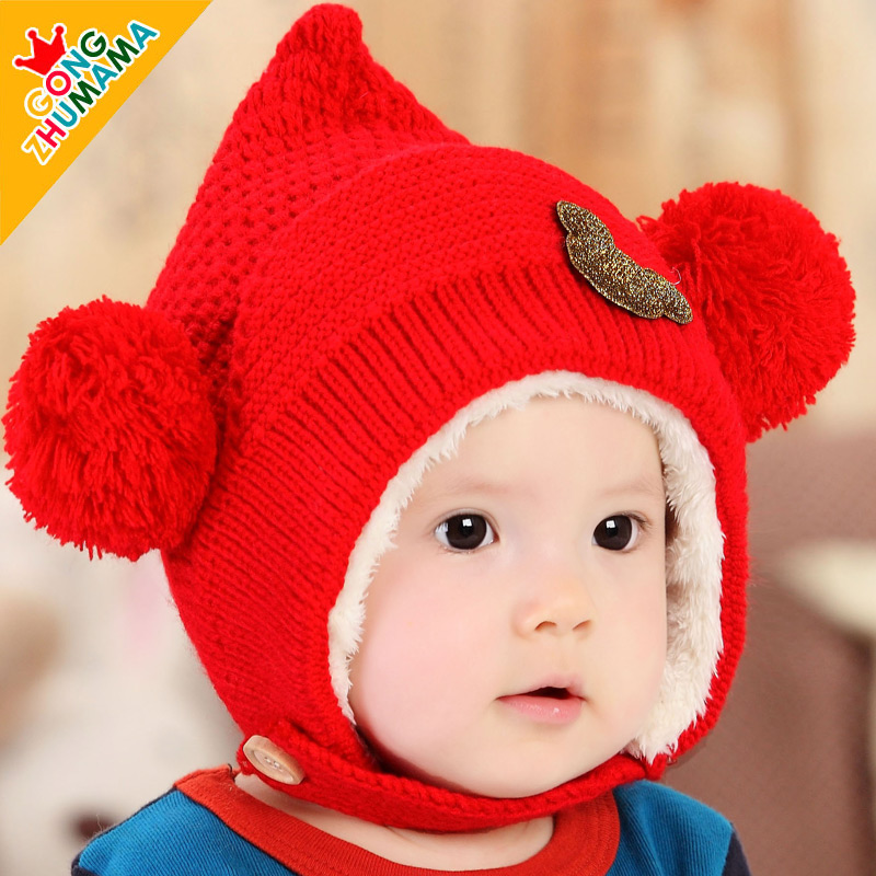 Korean version of the 0--3--6--12 months of autumn and winter plus velvet baby hat baby hat for men and women baby ear cap winter