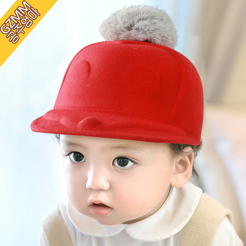 c40cae406d7 Get Quotations · Korean version of the boys and girls big ball cap child hat  flat brimmed hat baseball