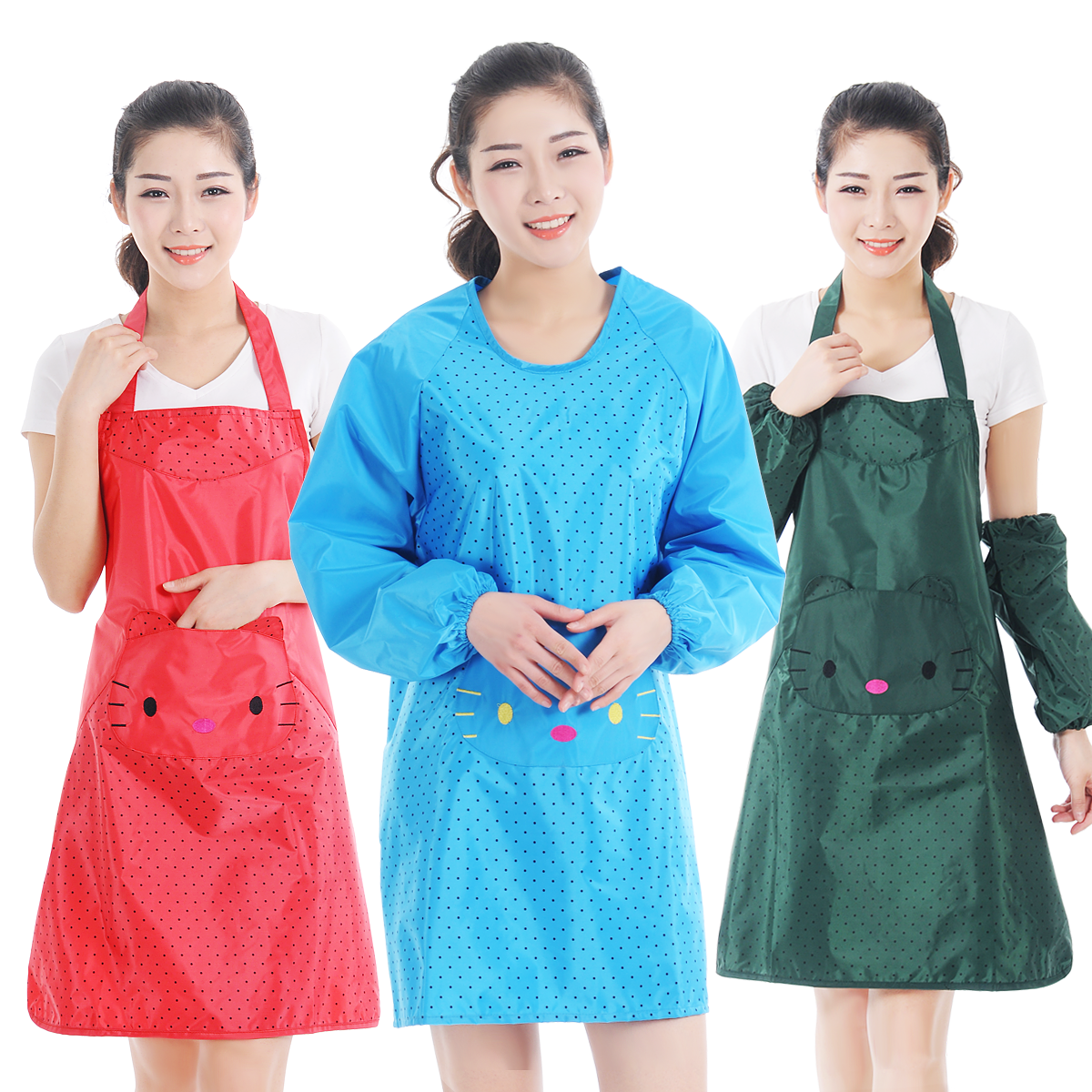 Korean version of the cartoon style strap sleeveless flower oilproof overclothes restaurant aprons antifouling waterproof apron kitchen aprons anti dressing