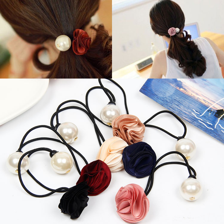 Korean version of the cloth headdress flower head hair rope imitation pearl flower hair tie hair ring hair accessories rubber band tousheng fs40