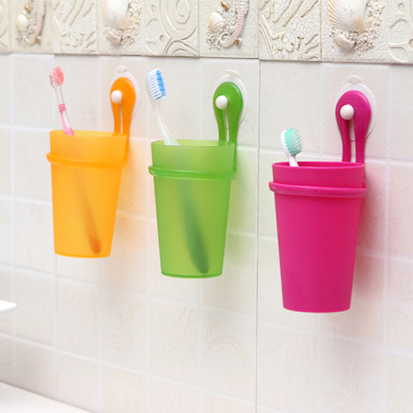 Korean version of the creative fashion plastic cups couple toothbrush cup wash cup brush cup candy color can be hung