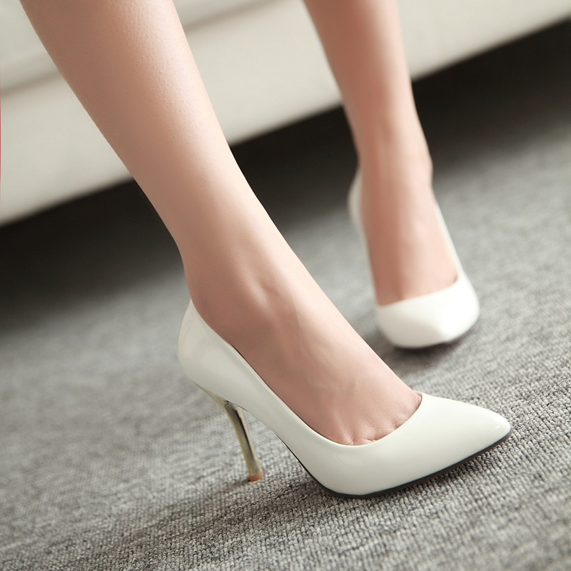 Korean version of the fall shallow mouth pointed shoes work shoes professional shoes elegant fine with nude color heels shoes bridesmaid shoes