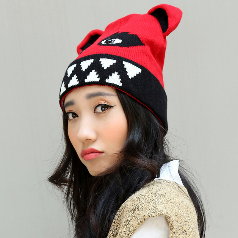 40e38ba8b79 Get Quotations · Korean version of the influx of autumn and winter hat  female korean cute knit hat devil